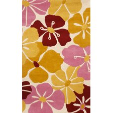 Abacasa Kids Petals Gold/Pink/Red Area Rug