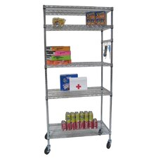 Five Tier NSF Shelving Rack in Chrome