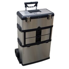 3-in-1 Suitcase Toolbox in Stainless Steel with Black Accents