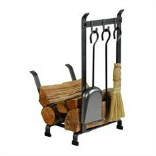 Country Home 3 Piece Steel Fireplace Tool Set with Log Rack