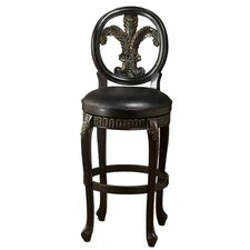 Fleur De Lis Triple Leaf Swivel Barstool in Black Honey