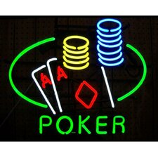 Business Signs Poker Table and Chips Neon Sign