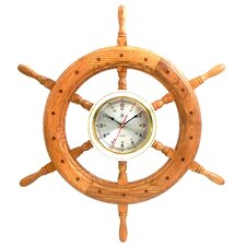 Ships Wheel Brass Clock