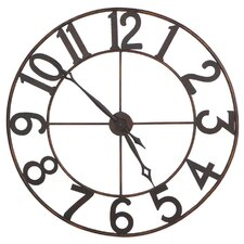 Iron Round Wall Clock with Numerals Embossed Japan Movement