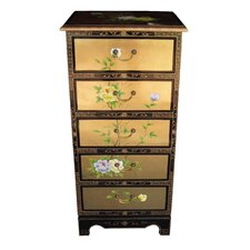 Gold Leaf 5 Drawer Tall Chest