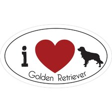 I Heart Golden Retriever Car Magnet