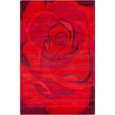 Cinzia Red Rose Flower Rug