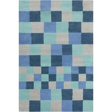 Cinzia Navy Blue Geometric Blocks Rug