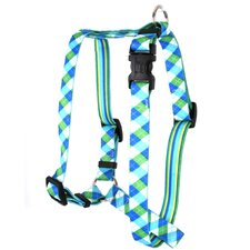 Blue and Green Argyle with Stripes Roman Harness