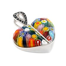 Sterling Silver Millefiori Glass Split Heart Pendant