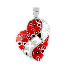 Millefiori Glass / Resin Curved Heart Pendant