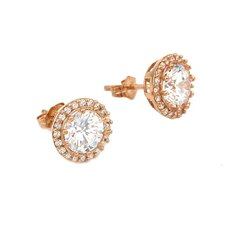 Round Cut Cubic Zirconia Stud Earrings