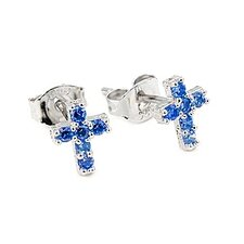 Cross Pave Cubic Zirconia Stud Earrings