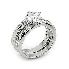Round Cubic Zirconia Wedding Set