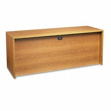 10500 3/4 Right Pedestal Credenza, 72w x 24d x 29-1/2h, Medium Oak Frame/Top