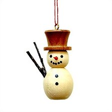 Natural Wood Finish Snowman Ornament
