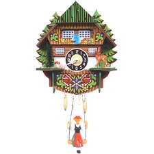 Clock with Trees and Swinging Girl