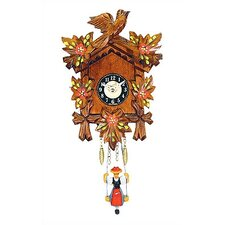 Battery Operated Clock with Red Flowers and Swinging Girl