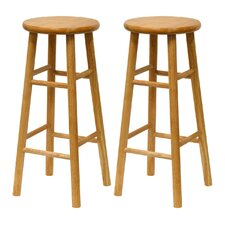 "Basics Natural Finish 30"" Barstool (Set of 2)"