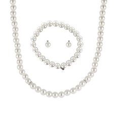 Pearl 3 Piece Necklace, Bracelet, and Earring Set