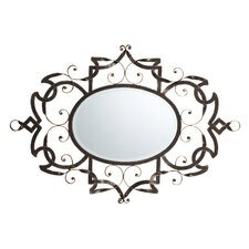 Samantha Scroll Metal Oval Mirror