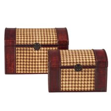 Houndstooth Woven Trunks (Set of 2)