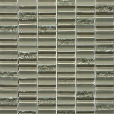 "Jayda Series 12"" x 12"" Mixed Crackled Glass Mosaic in Tan"