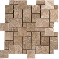 "Emperador Light Marble Mosaic Mini Pattern Polished 13"" x 13"" Tile in Beige and Brown"