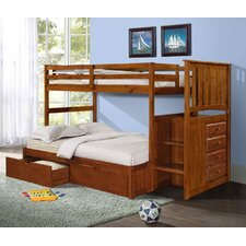Twin / Full Standard Bunk Bed with Underbed Drawer and Stairway
