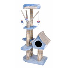 Deluxe Cat Cottage with Lounging Tower in Blue/Gray