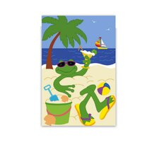 Frog on Beach Garden Flag