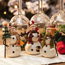 Flurries Snowman Polystone Table Display (Set of 3)