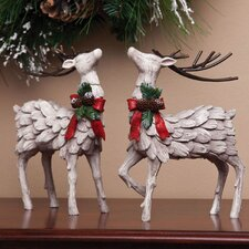 Cabin Christmas Deer Polystone Table Decor (Set of 2)