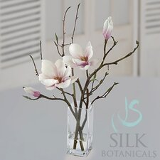 Tulip Magnolia in Square Glass Vase