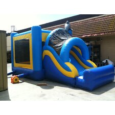 Dolphin Mega Wet/Dry Commercial Grade Inflatable Bouncy House and Slide Combo