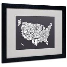 """USA States Text Map"" Matted Framed Art"