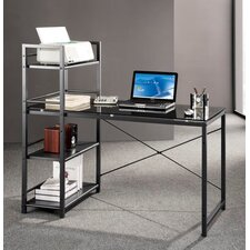Glass Top Computer Desk with 4-Shelf Metal Bookcase