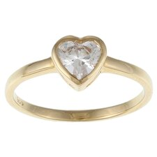 Caribe Gold 14k Gold over Silver Cubic Zirconia Heart Ring