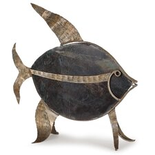 Large Fossil Stone and Metal Angel Fish Statue
