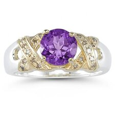 14K Two-Tone Round Cut Gemstone Ring