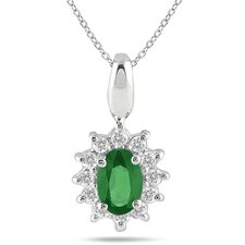 10K White Gold Oval Cut Gemstone Pendant