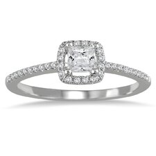 10K White Gold Princess Cut Diamond Engagement Ring