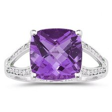 10K White Gold Cushion Cut Gemstone Ring