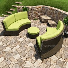Barbados 3 Piece Sectional Deep Seating Group with Cushion