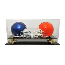 Double Mini Helmet Display with Gold Risers