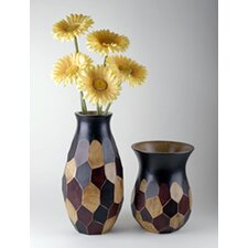 Wood Faceted Vase (Set of 2)