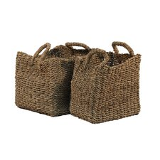 Water Hyacinth Basket with Handle (Set of 2)