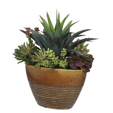 Artificial Succulent Garden in Ridged Oval Ceramic Vase