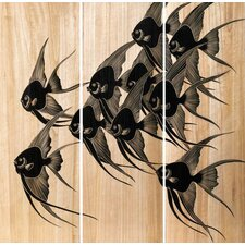 Carved Wood Fish Wall Panels (Set of 3)