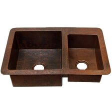 "Guadalajara 33"" x 22"" Double Bowl Kitchen Sink"
